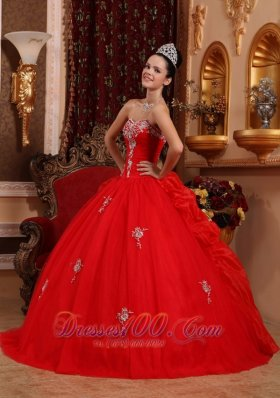 Red Quinceanera Dress Appliques Beading Pick-ups