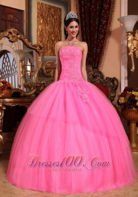 2013 Rose Pink Quinceanera Dress Appliques Beading