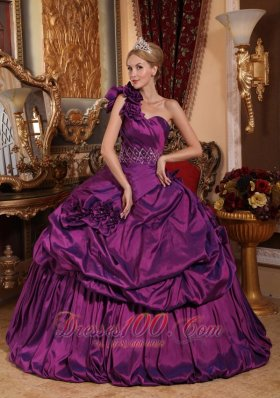 One Shoulder Purple Quinceanera Dress Hand Flowers