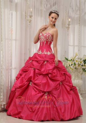 Coral Red Quinceanera Dress Appliques Pick-ups Sweetheart
