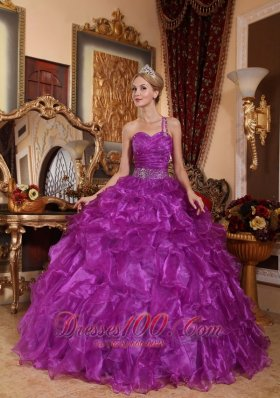 One Shoulder Purple Quinceanera Dress Organza Floor-length