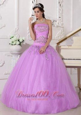 Lavender Quinceanera Dress Beading Taffeta Tulle