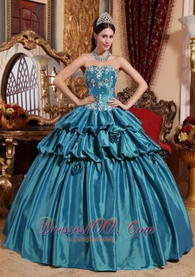 2013 Teal Quinceanera Dress Appliques Pick-ups