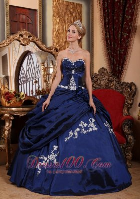 Modest Blue Appliques Pick-ups Quinceanera Dress