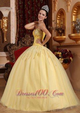 2013 Light Yellow Sweetheart Beading Quinceanera Dress
