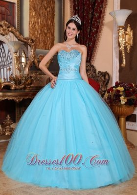 Baby Blue Sweet 16 Dress Beading Ruch Sweetheart