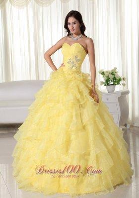 Yellow Appliques Beading Quinceanera Dress Zipper-up Sweetheart