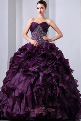 Purple Beading Ruffles Brush Train A-Line Quinceanea Dress