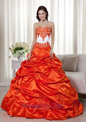 Modern Orange Pick-ups Beading Ball Gown Dress for Quince