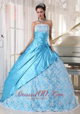 2013 Aque Blue and Flower Print Quinceanera Dress