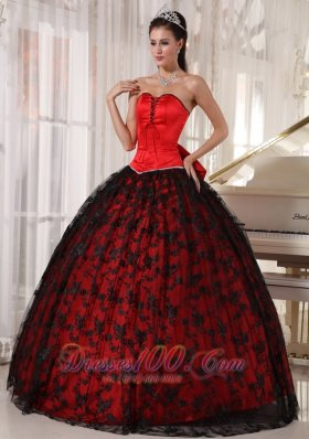 Red and Black Quinceanera Dress Taffeta and Tulle