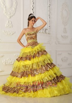 Leopard Print and Yellow Sweet 16 Dress