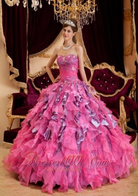 Discount Hot Pink Quinceanera Dress Sweetheart Ruffles