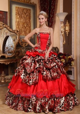 Dresses for a Quinceanera Red and Leopard Print Strapless