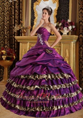 Zebra Print Purple One Shoulder Quinces Dresses Floor-length
