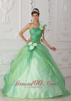 Trend Apple Green One Shoulder Organza Beading