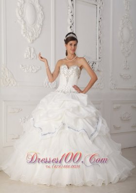 White Quinceanera Dress Sweetheart Organza Taffeta Beading