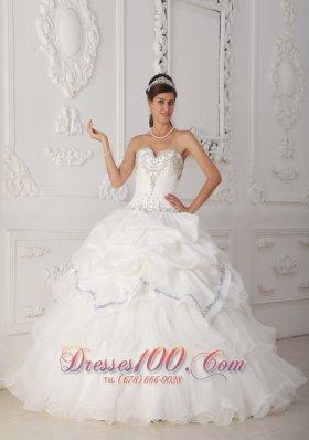 White Quinceanera Dress Sweetheart Organza Taffeta Beading