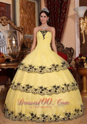 Yellow Quinceanera Dress Strapless Organza Lace Appliques