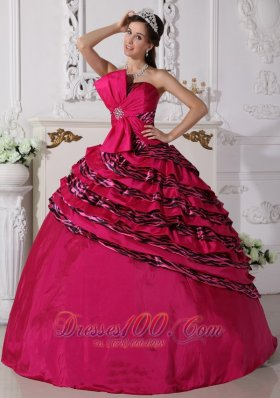 Hot Pink Trendy Quinceanera Dress Strapless Zebra Beading