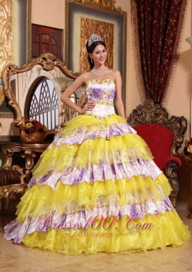 Multi-color Quinceanera Dress Sweetheart Organza Beading