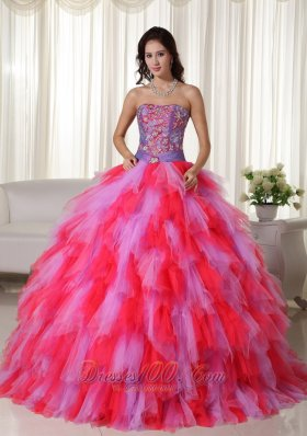 Ball Gown Strapless Trendy Tulle Appliques Quinceanera Dress