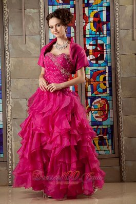 Pink A-line Sweetheart Organza Beading Quinceanea Dress