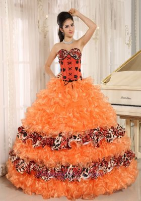 Orange Ruffles Appliques Sweetheart Quinceanera Dress Leopard