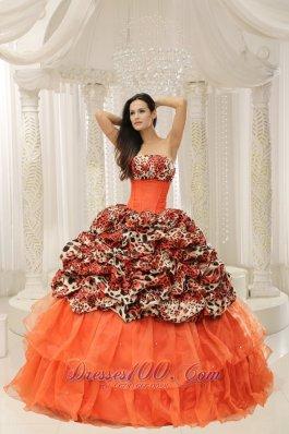 Organza Upscale Beaded Decorate Leopard Quinceanera Dress