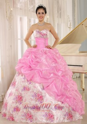 Sweetheart Sexy Pick-ups Rose Pink Quinceanera Dress Custom