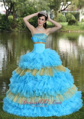 Showy Organza Aqua Blue Strapless Tiered Quinceanera Dress