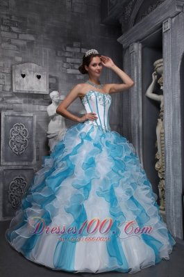 White Sky Blue Quinceanera Dress Sweetheart Taffeta Organza