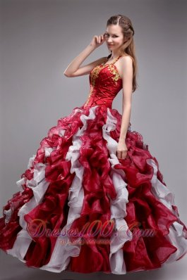 Inexpensive Wine Red Quinceanera Dress Halter Organza Applqiues