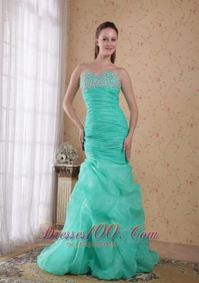 Mermaid Turquoise Ruched Beading Prom Celebrity Dress