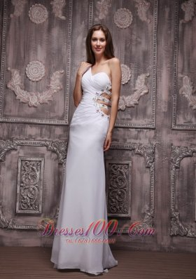 One Shoulder White Prom Evening Dress Chiffon Beading