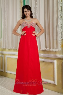 2013 Red Prom Dress Beading Floor-length