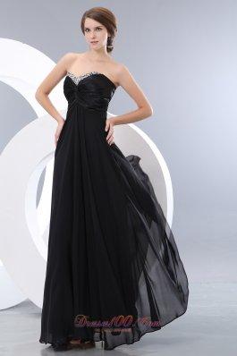 Exquisite Black Beading Little Back Dress Chiffon