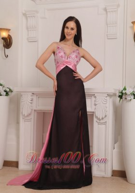 Pink and Black Straps Beading Prom Dress Evening Brush