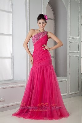 Mermaid One Shoulder Hot Pink Dress for Prom