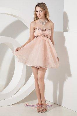 Beading Empire Short Prom Dress Princess Sweetheart
