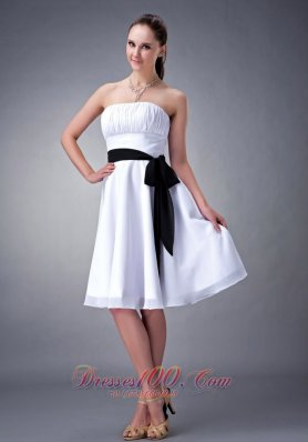 White A-line Black Sash Knee-length Bridesmaid Dress