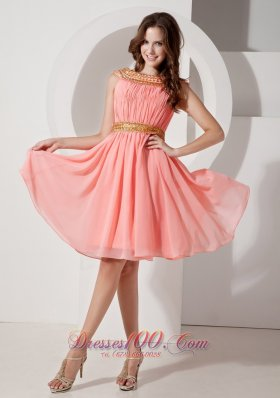 Watermelon Gold Neck and Waistband Bateau Graduation Dress in
