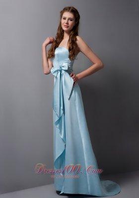 Baby Blue Strapless Bridesmaid Dress Satin Bow