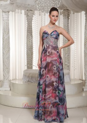 Prom Celebrity Dress Beaded Floor-length Printing On Sale