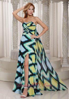Multi-color Printing Chiffon High Slit Sweetheart Prom Evening Dress