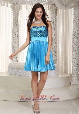 Popular Teal Prom Dress Strapless Mini-length Chiffon