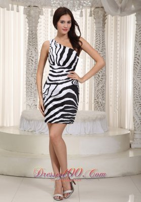 White and Black Leopard Nightclub Dress One Shoulder Mini-length