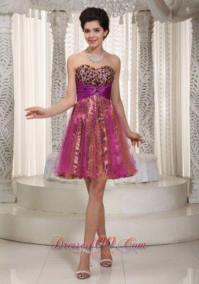 Colorful Princess Mini-length Organza and Leopard Homecoming Dress