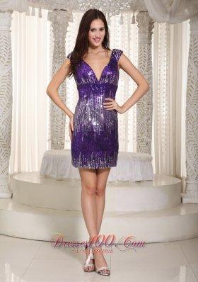 Purple Princess Cocktial Dress V-neck Mini-length Sequins
