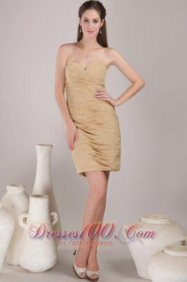 Champagne Prom Dress Sweetheart Mini-length Chiffon Ruch